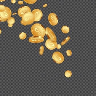3d реалистичные падающие золотые металлические монеты, знак доллара.