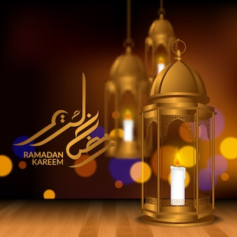 3d realistic fanoos lamp lantern decoration on the wood floor with bokeh background for ramadan kareem mubarak