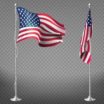 3d realistic flags of United States of America on steel poles