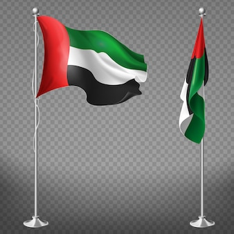 3d realistic flags of united arab emirates on steel poles isolated on transparent background
