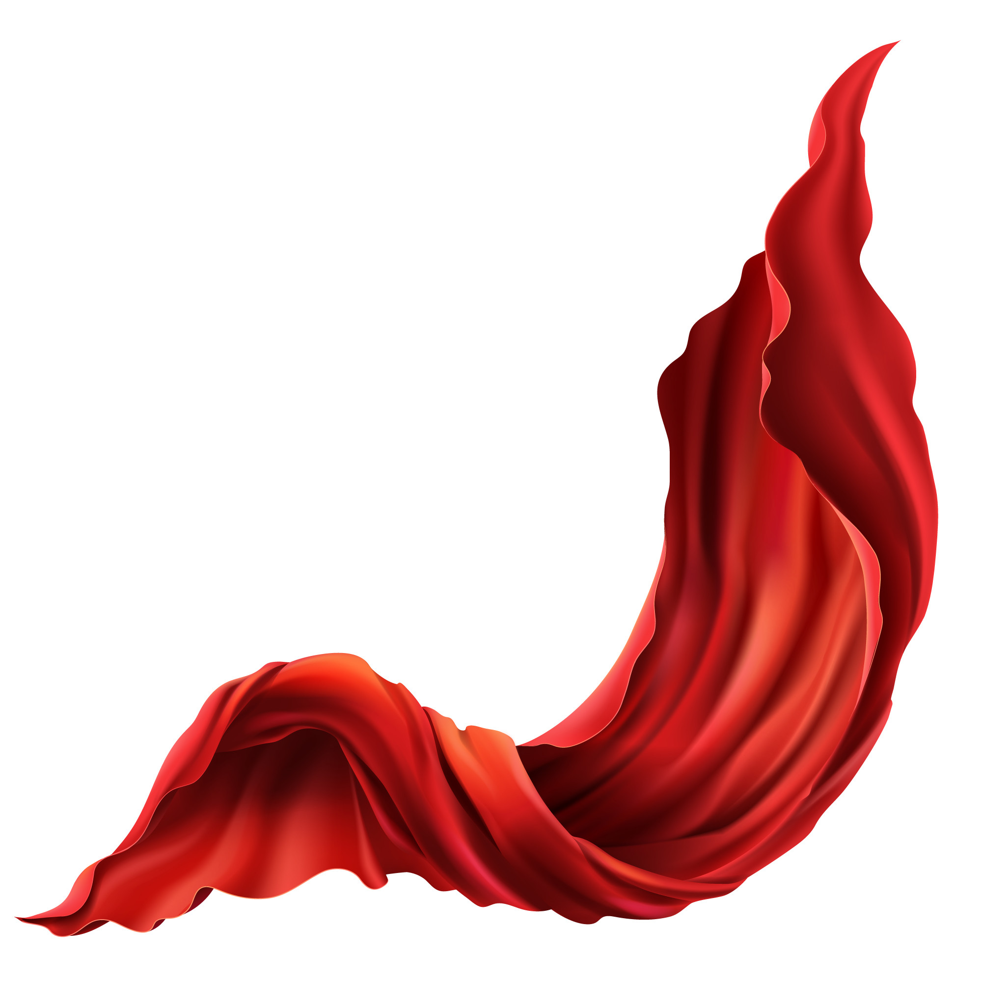 3d realistic flying red fabric. Flowing satin cloth isolated on white background