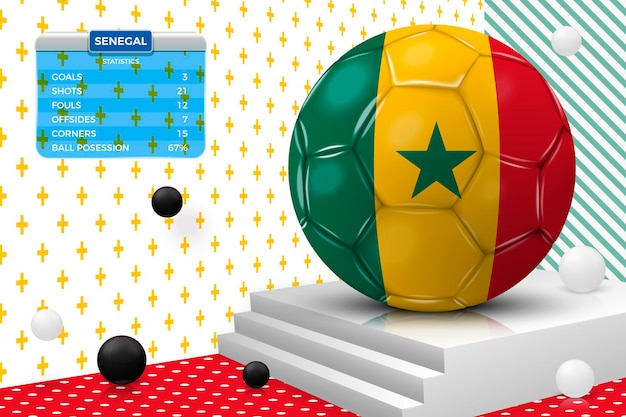 3d realistic football ball with senegal flag, scoreboard, isolated in corner wall