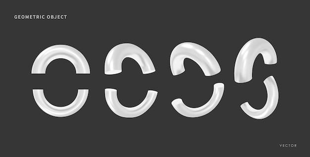 3d 현실적인 기하학적 개체입니다. 격리 된 금속 흰색 모양입니다. 벡터.