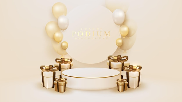 3d realistic gift box with golden ribbon and balloons surround white podium