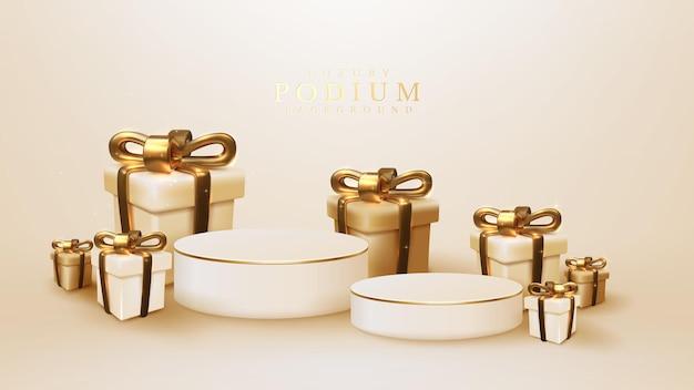 金色のリボンで囲まれた白い表彰台、モダンで豪華な背景、販売または広告用の製品サンプルを配置するためのフェスティバルの背景デザインを備えた3dリアルなギフトボックス。ベクトルイラスト。