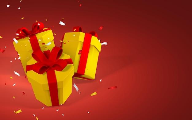 赤いリボンが付いた3dリアルなギフトボックス。赤い背景に分離されたリボンと影の紙の黄色いボックス。ベクトルイラスト。