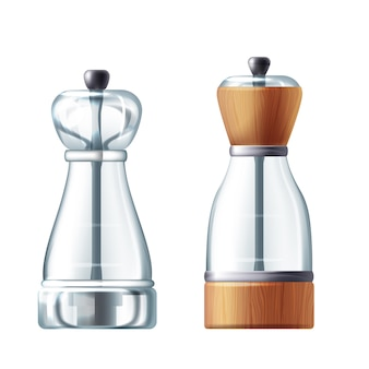 3d realistic glass, wooden salt and peppermill. transparent shaker for cooking
