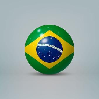 3d 현실 광택 플라스틱 공 또는 브라질의 국기와 구체