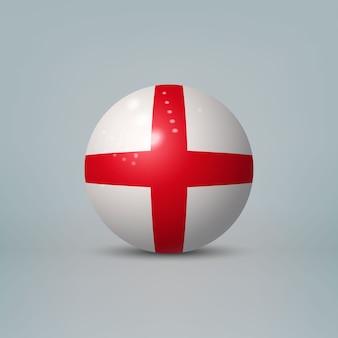 3d 현실 광택 플라스틱 공 또는 잉글랜드의 국기와 구