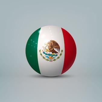 3d реалистичный глянцевый пластиковый шар или сфера с флагом мексики