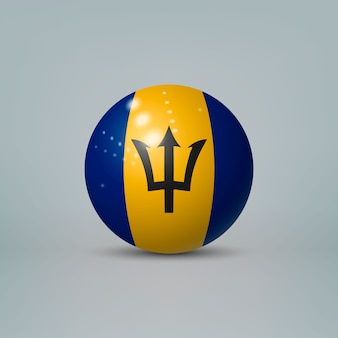 3d realistic glossy plastic ball or sphere with flag of barbados