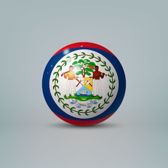 3d realistic glossy plastic ball or sphere with flag of belize