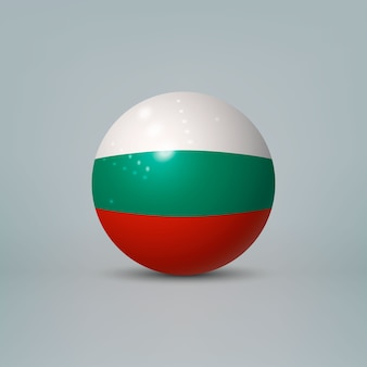 3d realistic glossy plastic ball or sphere with flag of bulgaria