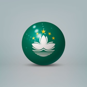 3d realistic glossy plastic ball or sphere with flag of macao