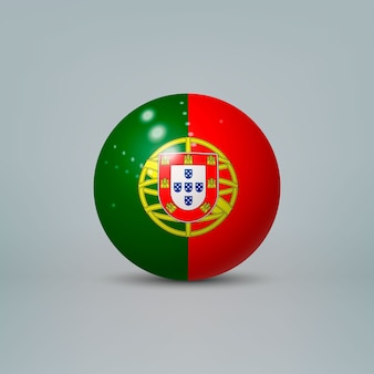 3d realistic glossy plastic ball or sphere with flag of portugal