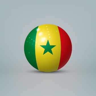 3d realistic glossy plastic ball or sphere with flag of senegal