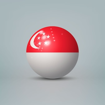 3d realistic glossy plastic ball or sphere with flag of singapore