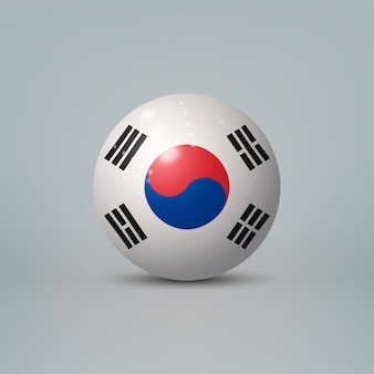 3d realistic glossy plastic ball or sphere with flag of south korea.