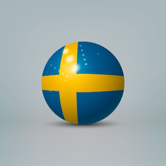3d realistic glossy plastic ball or sphere with flag of sweden