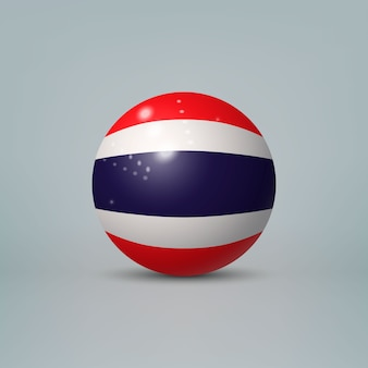 3d realistic glossy plastic ball or sphere with flag of thailand