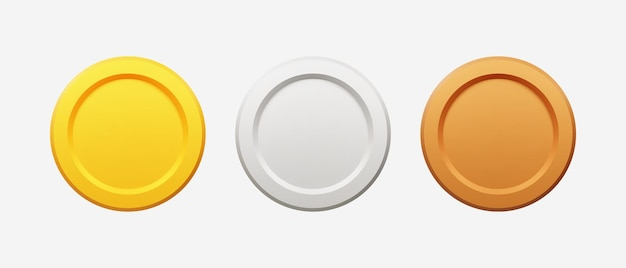 3d realistic gold, silver, and bronze coins vector illustration.
