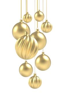 白い背景で隔離の3dリアルな金色とらせん状のクリスマスボール。