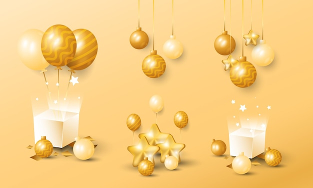 3d realistic golden christmas and new year decoration object