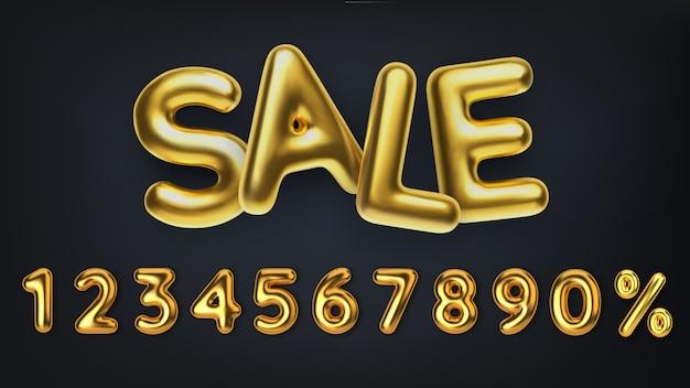 Продажа реалистичных 3d золотая надпись. сделайте скидку на распродажу из реалистичных 3d золотых шаров. номер в виде золотых шаров.