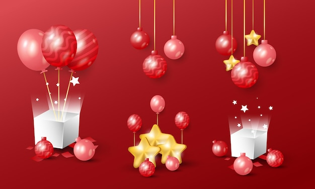 3d realistic golden red christmas and new year decoration object