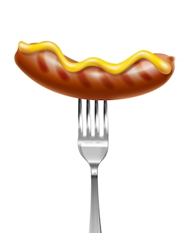 3d realistic grilled sausage on metal fork with mustard on top.
