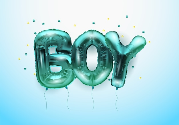 3d realistic helium balloons in the form of letters boy.