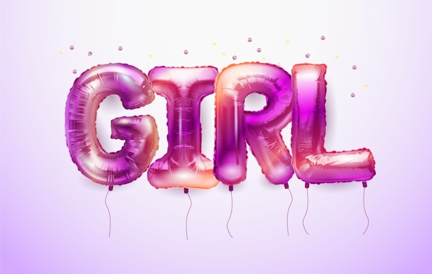 3d realistic helium balloons in the form of letters girl.