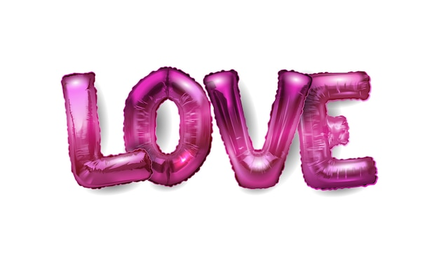 3d realistic helium balloons in the form of letters love.