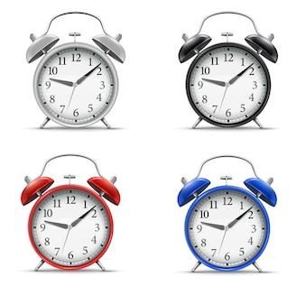 3d  realistic  home alarm clock set for concept design. vintage style illustration.