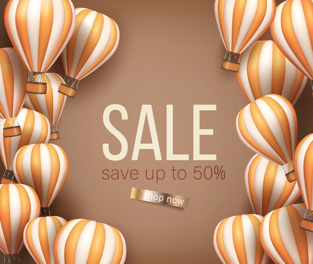 3d realistic hot air balloon orange and beige color flyer or banner template for sale.  illustration