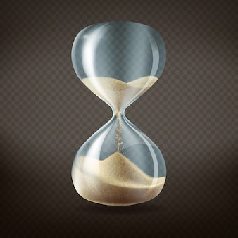 3d realistic hourglass with running sand inside, isolated on dark transparent background.