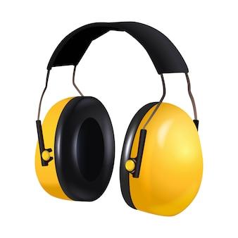 安全機器請負業者労働者ヘッドフォン、防音の3 dのリアルなアイコンイラスト。白で隔離