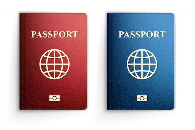 3 dのリアルなイラスト、青と赤のパスポート。白で隔離