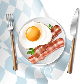 3d realistic illustration of fried eggs with roasted bacon strips and green parsley