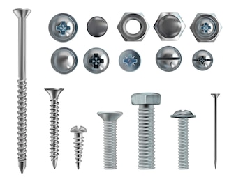 3d realistic illustration of stainless steel bolts, nails and screws on white background.