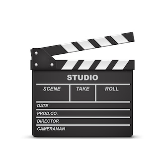 3d realistic illustration of open movie clapperboard or clapper isolated on background