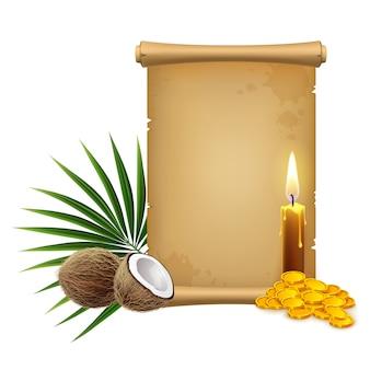 3d 현실적인 그림. 파피루스 해적 스크롤, 촛불 및 황금 동전 및 열대 식물상. 흰색 배경에 고립.