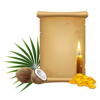 3d realistic illustration. papyrus pirate scroll, candle and golden coins and tropical flora. isolated on white background.