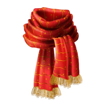 3d realistic illustration of red knitted scarf with decorative pattern and gold fringe, isola