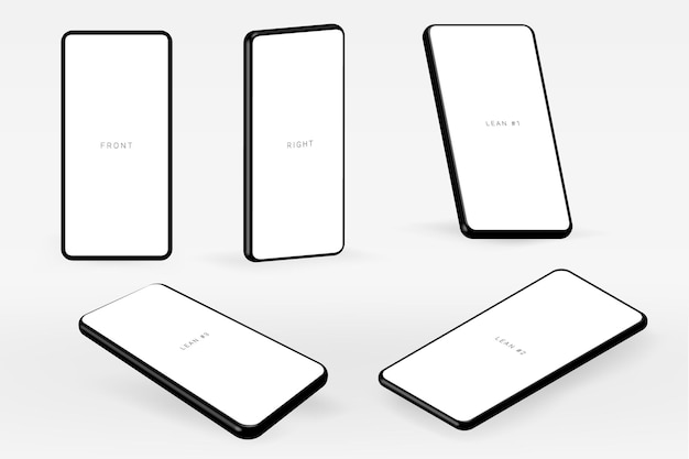 3d realistic isolated mobile screen template