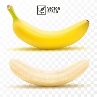 3 dの現実的な孤立した皮をむいたと全体のバナナの果実