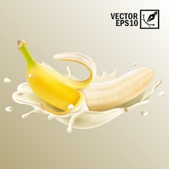 3 dの現実的な分離、スプラッシュミルクまたはヨーグルトの皮をむいたバナナの果実、編集可能な手作りメッシュ