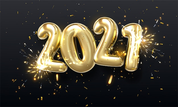 3d realistic isolated   with golden gel balls arranged as a number two thousand twenty, 2021, new year's balloons with tinsel to decorate your design, christmas, ads