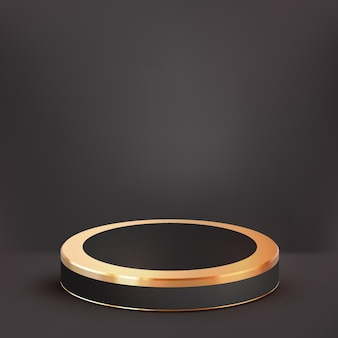 3d realistic luxury black gold podium and cute cloud background, showcase for luxury product
