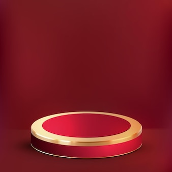 3d realistic luxury red gold podium and cute cloud background, showcase for luxury product